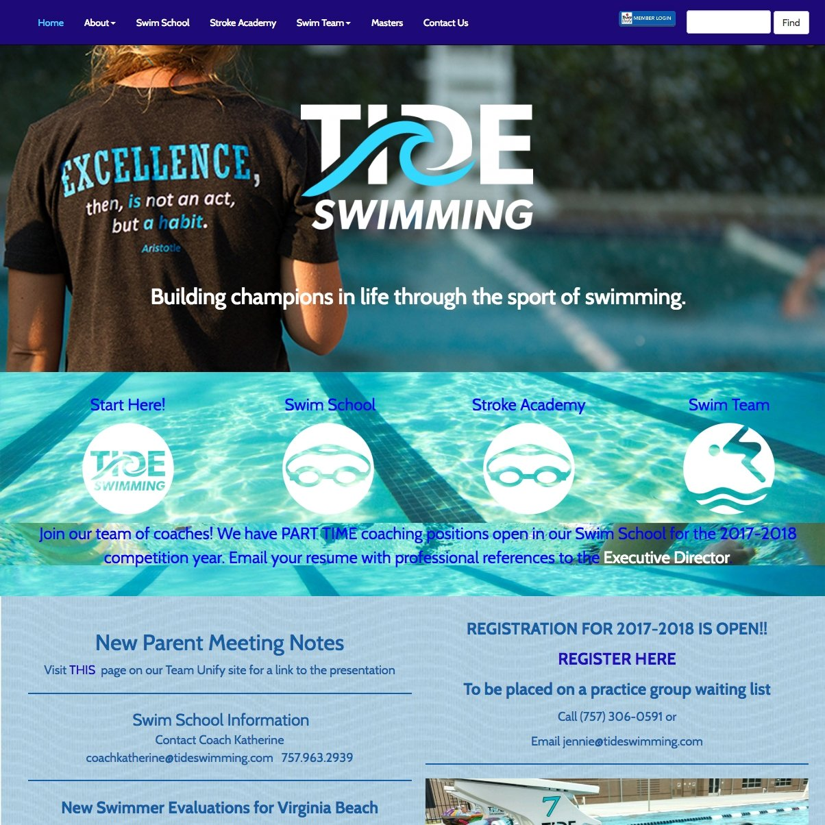picture of Tide Swimming home page