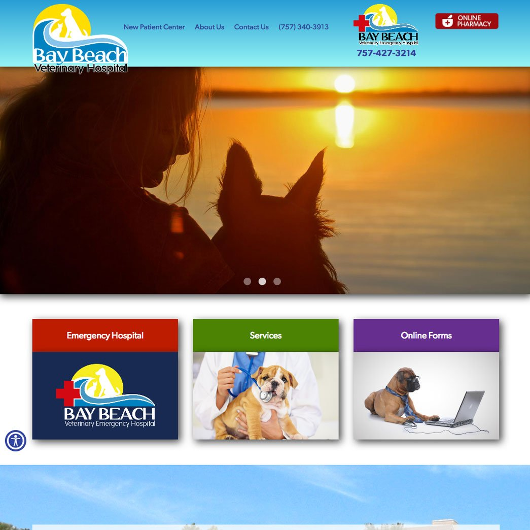 picture of Bay Beach Vet web page