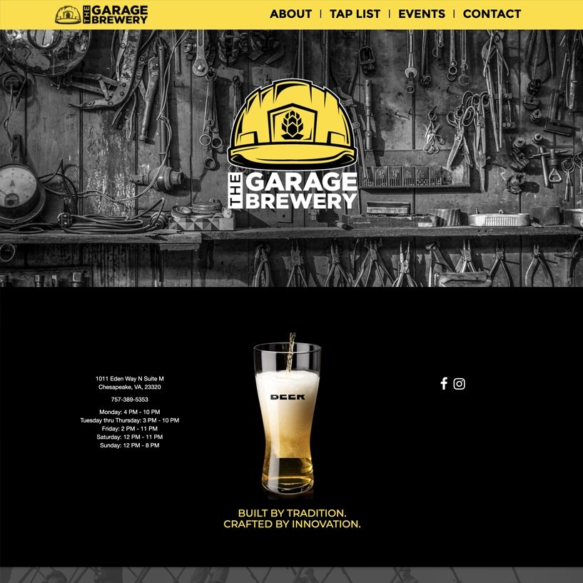 Garage Brewery home page picture