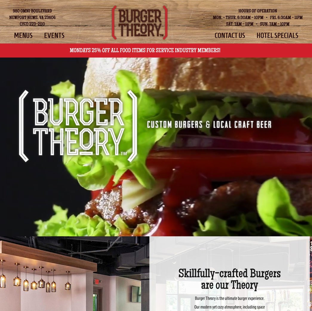 Burger Theory home page screenshot